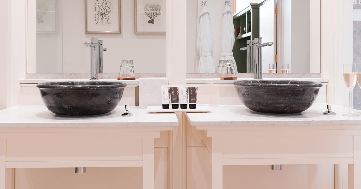 Marble 'His & Hers' Sinks at The Montagu Arms Hotel